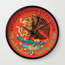 Mexican National Coat of Arms & Seal on Adobe Red Wall Clock