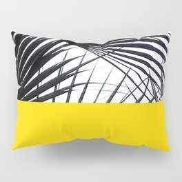 Black and White Tropical Palm Leaves on Sunny Yellow Pillow Sham