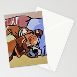 Abby Rests Boxer Dog Portrait Stationery Cards