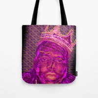 notorious Tote Bags featuring B.I.G Notorious by Dewi Gale