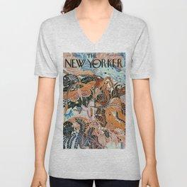 The New Yorker Vintage Cover // 2 Unisex V-Neck