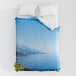 Majestic Royal Blue | Yellow Wildflowers Mountains Beautiful Ocean and Sky Horizon Dreamy Landscape Comforters
