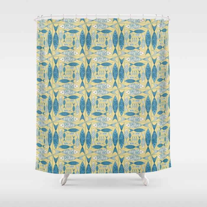 Log Cabin Fish Shower Curtain