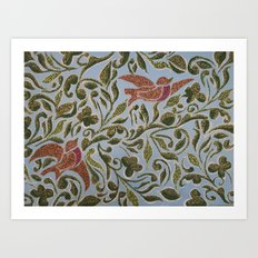 Bird & leaves Art Print