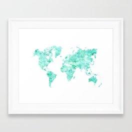 Teal aquamarine watercolor world map Framed Art Print