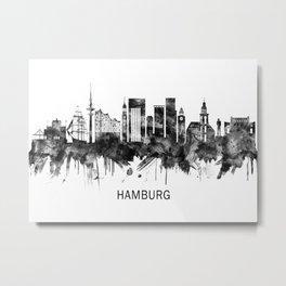 Hamburg Germany Skyline BW Metal Print