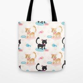 Cute Cats Eating Pet Food Tote Bag