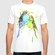 Parakeets MEDIUM White Mens Fitted Tee