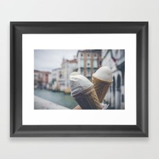 Love and ice cream Framed Art Print