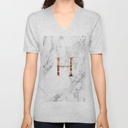 Monogram rose gold marble H Unisex V-Neck