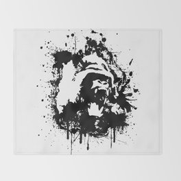 Gorilla Rage Throw Blanket