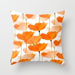 Orange Poppies On A White Background #decor #society6 #buyart Throw Pillow
