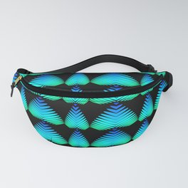 The alternating pattern of the color of the sky of hearts and stripes on a black background. Fanny Pack