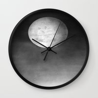 dark side of the moon Wall Clocks featuring DARK SIDE OF THE MOON by ..........