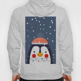 Christmas Penguin with fairy lights no2 Hoody