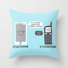 Smartphone versus Stupidphone Throw Pillow