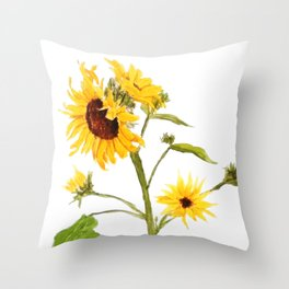 One sunflower watercolor arts Throw Pillow