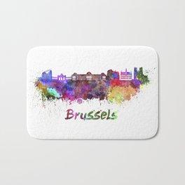 Brussels skyline in watercolor Bath Mat