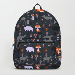 Wild foxes, deer, bears and flowers Backpack