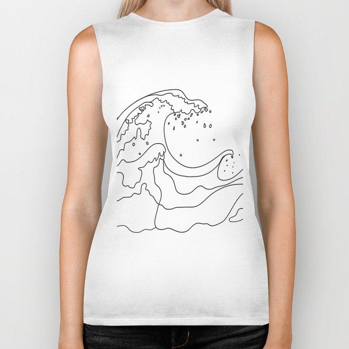Minimal Line Art Ocean Waves Biker Tank