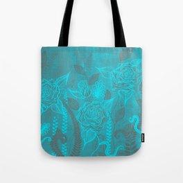 Rose Garden Blue Tote Bag