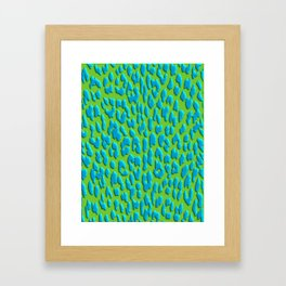 Bright Green & Blue Leopard Print Framed Art Print