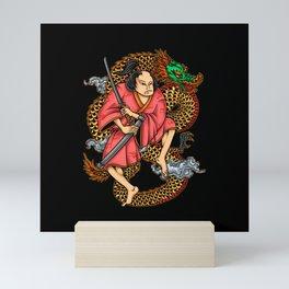 Japanese Samurai Warrior Japan Dragon Motif Mini Art Print