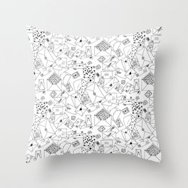 Snail Mail Infinite Pattern V2: Black and White Ink Drawing Throw Pillow