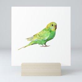 Geometric green parakeet Mini Art Print