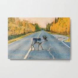Lappi reindeer watercolor painting Metal Print