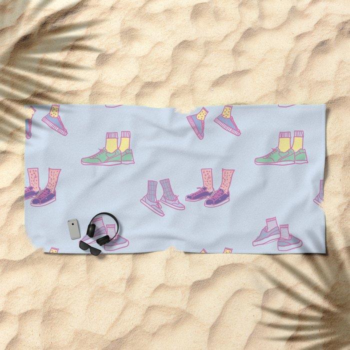 Pastel Walking Sneakers Beach Towel