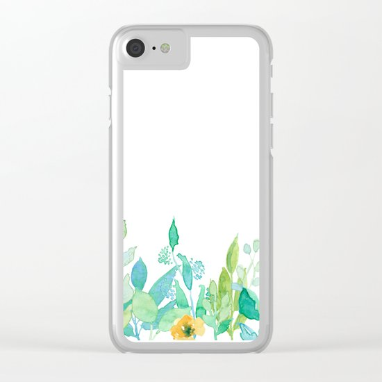 flowers in a meadow - Floral watercolor illustration on white backround Clear iPhone Case