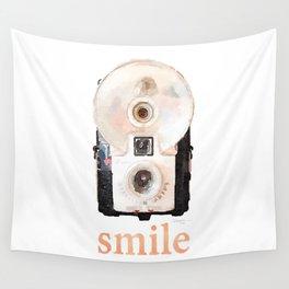 Retro Watercolor Camera SMILE! Wall Tapestry