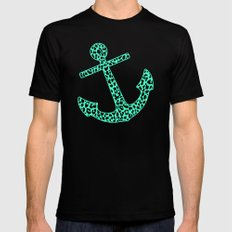 Mint Leopard Anchor Black Mens Fitted Tee MEDIUM