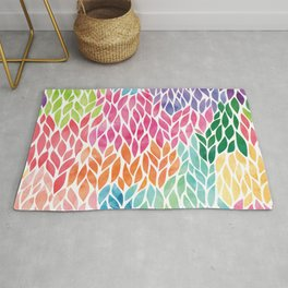 Rainbow Watercolor Leaf Teardrop Pattern Rug