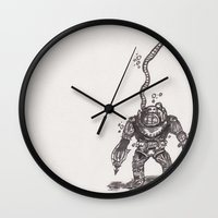 scuba Wall Clocks featuring Scuba by The A B Project