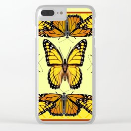 YELLOW & ORANGE MONARCH BUTTERFLIES PATTERNED ART Clear iPhone Case