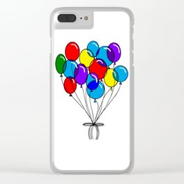 A Bouquet of Multi-Colored Balloons tied in a Bow Clear iPhone Case