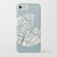boston map iPhone & iPod Cases featuring Boston Map 2 by Sophie Calhoun
