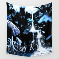 fairies Wall Tapestries featuring Fairies in the waterfall by AzounArt