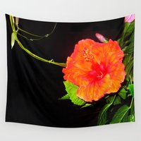 hibiscus Wall Tapestries featuring Hibiscus by Iris V.