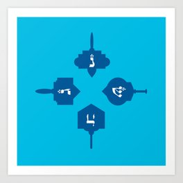 Dreidel in blue Art Print