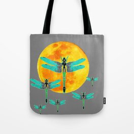 GREEN DRAGONFLIES FLYING TO MOON Tote Bag