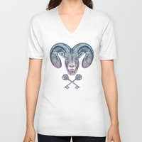 ram V-neck T-shirts featuring The Ram (Aries) by Rachel Caldwell