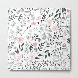 Elegant Floral Sweet Desserts Pattern Metal Print