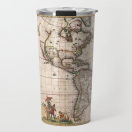 1658 Visscher Map of North & South America with enhancements Travel Mug
