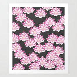 Lotus pattern on dark gray Art Print