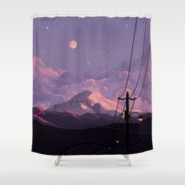 Mt Rainier with Powerlines Shower Curtain