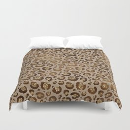 Brown Glitter Leopard Print Pattern Duvet Cover