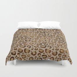 Brown Glitter Leopard Print Pattern Duvet Cover